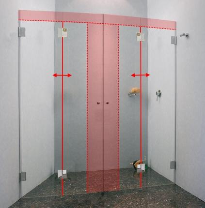 Duschfaltwand in nische aus glas im sonderma von combia - Duschfaltwand fur dusche ...
