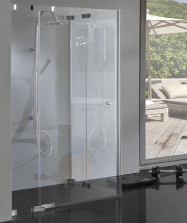 Rahmenlose Eck Duschkabine Bodengleiche Maße 8mm Glas Chrom