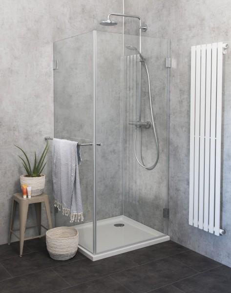 Eck-Dusche mit Festwand Duschkabine mit Duschwanne ESG Glas 90x90cm H=173cm