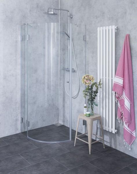 Viertelkreis-Dusche mit 1 Türe ESG Glas H=195cm