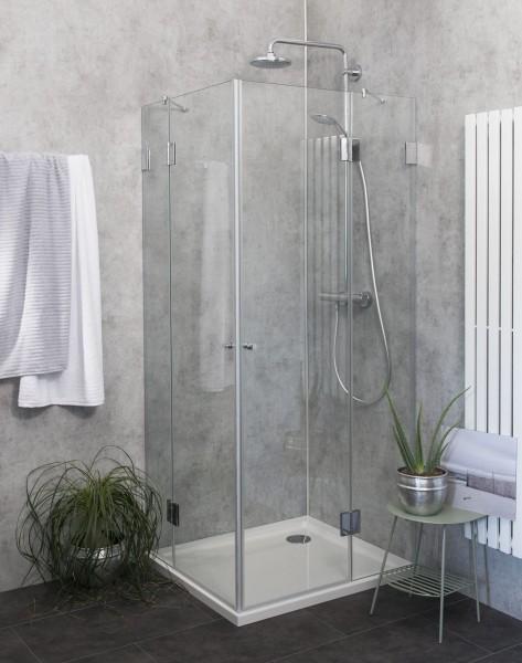 Eck-Dusche mit 2 Türen Duschkabine mit Duschwanne ESG Glas 100x80cm H=195cm