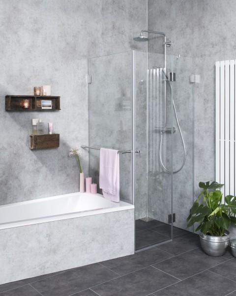 Eck-Dusche mit Festwand verkürzt ESG Glas H=195cm