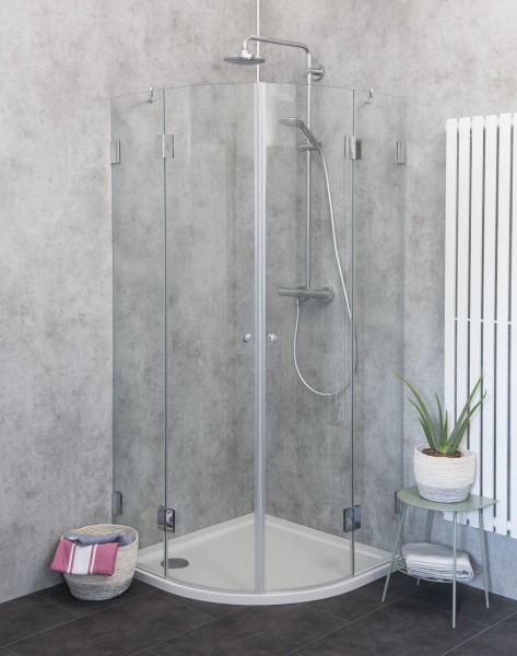 Viertelkreis-Dusche mit 2 Türen Duschkabine mit Duschwanne ESG Glas 100x100cm H=195cm