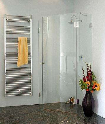 Fünfeck-Dusche mit Innentüre ESG Glas H=195cm