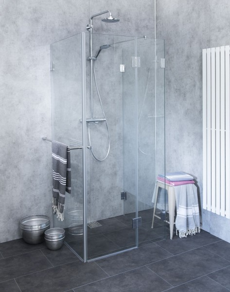 Bündige 3-Seiten U-Dusche ESG Glas Chrom H=195cm