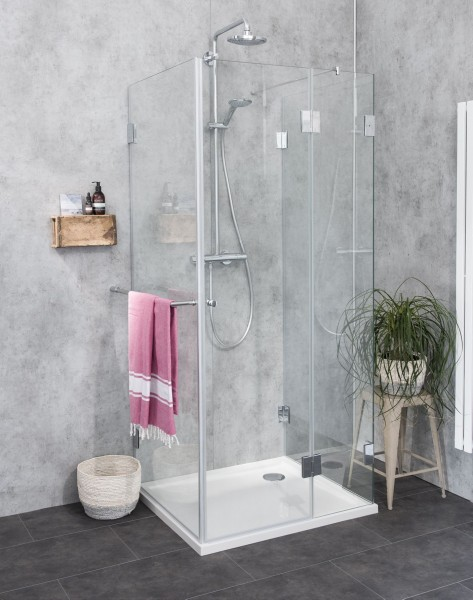 3 Seiten U Duschkabine Dusche mit Duschwanne ESG Glas 90x90cm H=195cm
