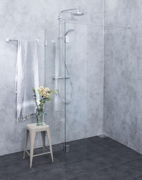 Freistehende Duschwand ESG Glas Chrom H=195cm