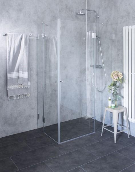 Bündige Eck-Duschkabine 2 Türen ESG Glas Chrom H=195cm