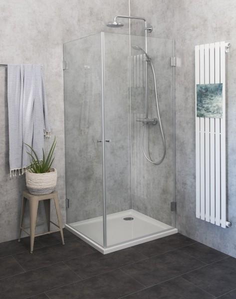 Eck-Dusche mit 2 Türen Duschkabine mit Duschwanne ESG Glas 80x80cm H=173cm