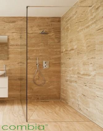 Befliesbares Duschelement mit Ablaufrinne Viereck Maße kombinierbar 105, 110, 115, 120 x 145, 150cm