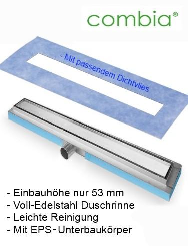 Ablaufrinne Duschrinne flach auf EPS Träger Edelstahl Höhe nur 53mm Länge 120cm