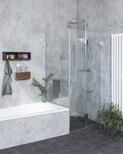 Eck Falt-Dusche mit Festwand verkürzt ESG Glas H=195cm
