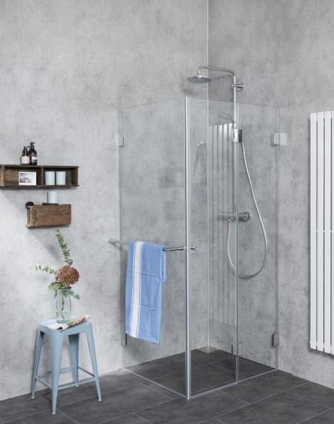 Eck Falt-Dusche mit Festwand ESG Glas Chrom H=195cm