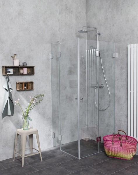 Eck Falt-Dusche mit 2 Türen ESG Glas H=195cm
