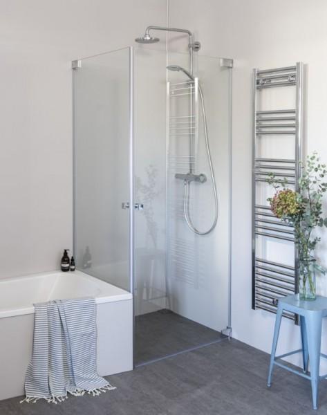 Eck Duschkabine neben Badewanne mit 2 Pendeltüren an Wand nach Maß