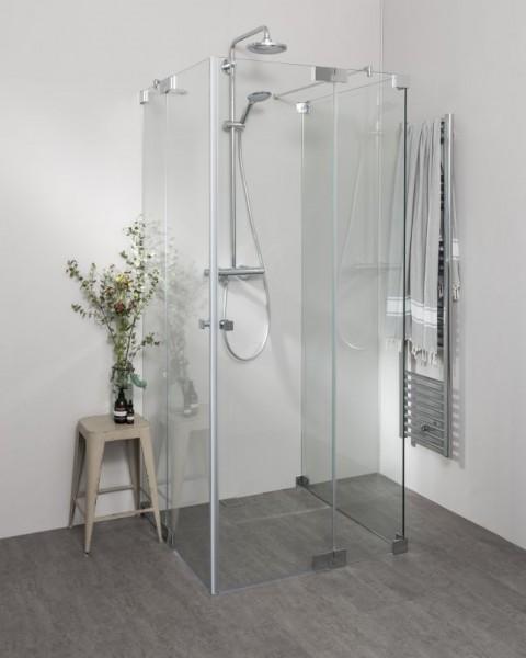 Duschkabine U Form mit 2 Pendeltüren als Eckeinstieg