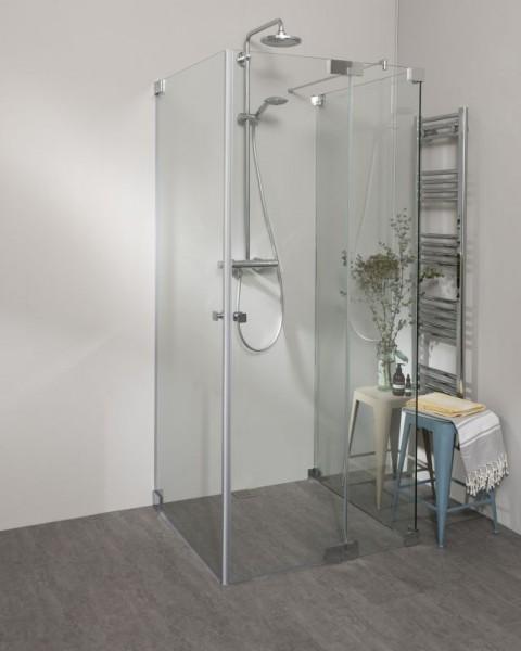 Duschkabine U Form neben Badewanne mit 2 Pendeltüren & Festwand