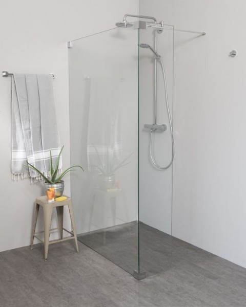 Freistehende Duschwand: Walk In Duschwand mit Festteil über Eck, Sondermaße