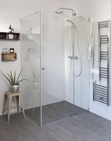 Eck Duschkabine mit Pendeltür groß und Seitenwand, Sondermaße