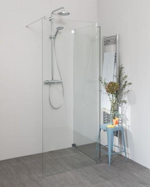 Begehbare Dusche: Walk In Duschwand mit Glas-Seitenwand