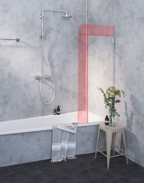 Glaswand Badewanne nach Maß Badewannenaufsatz