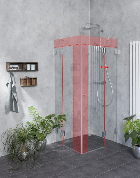 Eckeinstieg Duschkabine Sondermaße mit 2 Türen Glas klar