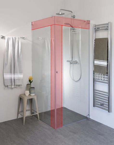 Eck Duschkabine mit Pendeltür an Wand und Seitenwand nach Maß