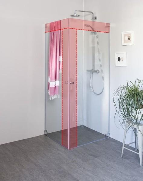 Eck Duschkabine mit 2 Pendeltüren an Wand nach Maß