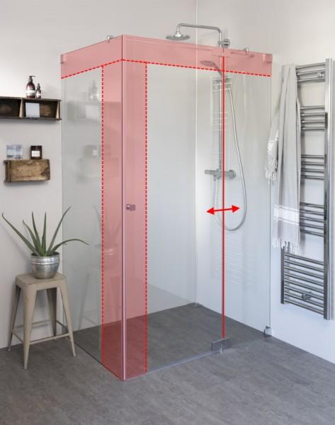 Eck Duschkabine mit Pendeltür und Seitenwand nach Maß