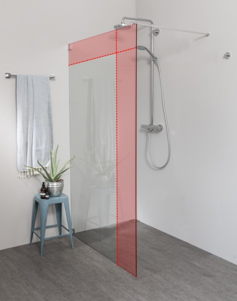 Begehbare Dusche: Freistehende Duschwand Maßanfertigung