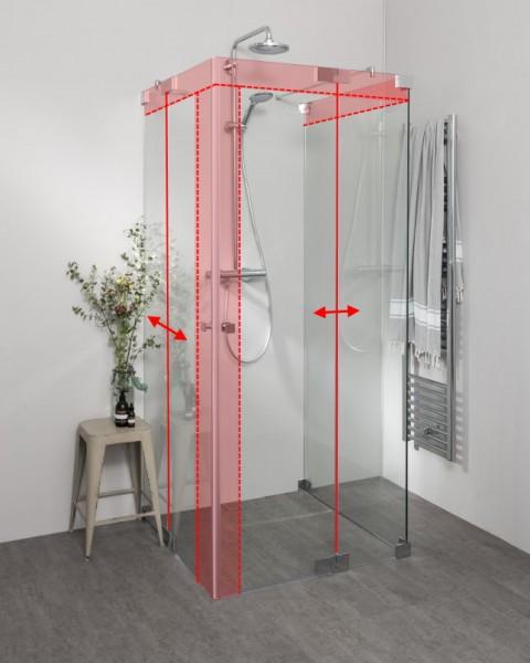 Duschkabine U Form mit 2 Pendeltüren als Eckeinstieg nach Maß