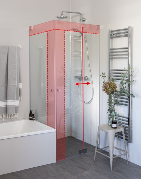 Eck Duschkabine neben Badewanne mit 2 Pendeltüren nach Maß