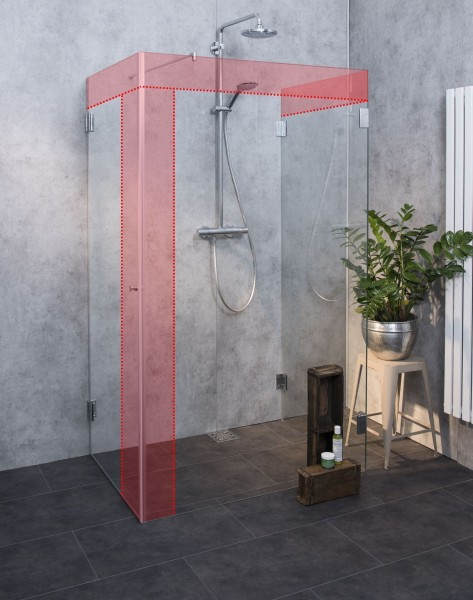 U-Duschabtrennung Glas Sondermaß