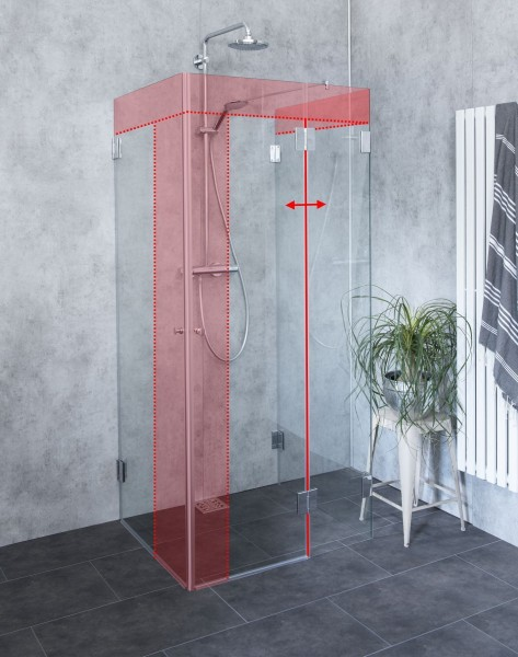U-Form Duschkabine Sonderanfertigung Glas