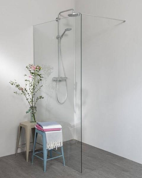 Begehbare Dusche: Freistehende Duschwand mit Klemm Profil, breit