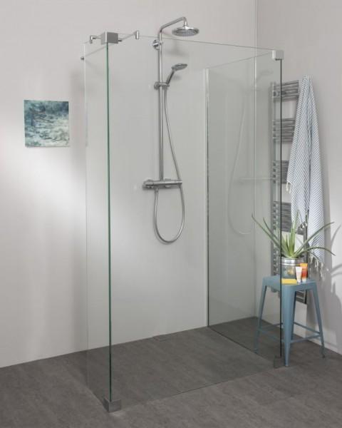 Begehbare Dusche: Walk In Duschwand mit Klemm Wandprofil, Sondermaße