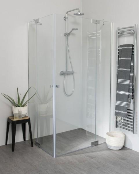 Teilgerahmte Eck Duschkabine mit Pendeltür groß und Seitenwand