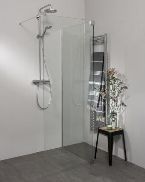 Begehbare Dusche: Walk In Duschwand mit Klemm Wandanschlussprofil