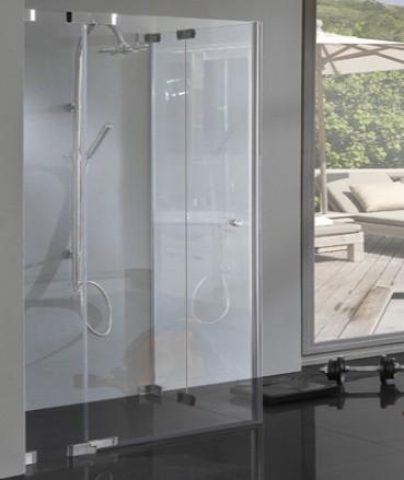 Rahmenlose Eckeinstieg Dusche mit 2 Pendeltüren über Eck 8mm Glas chrom